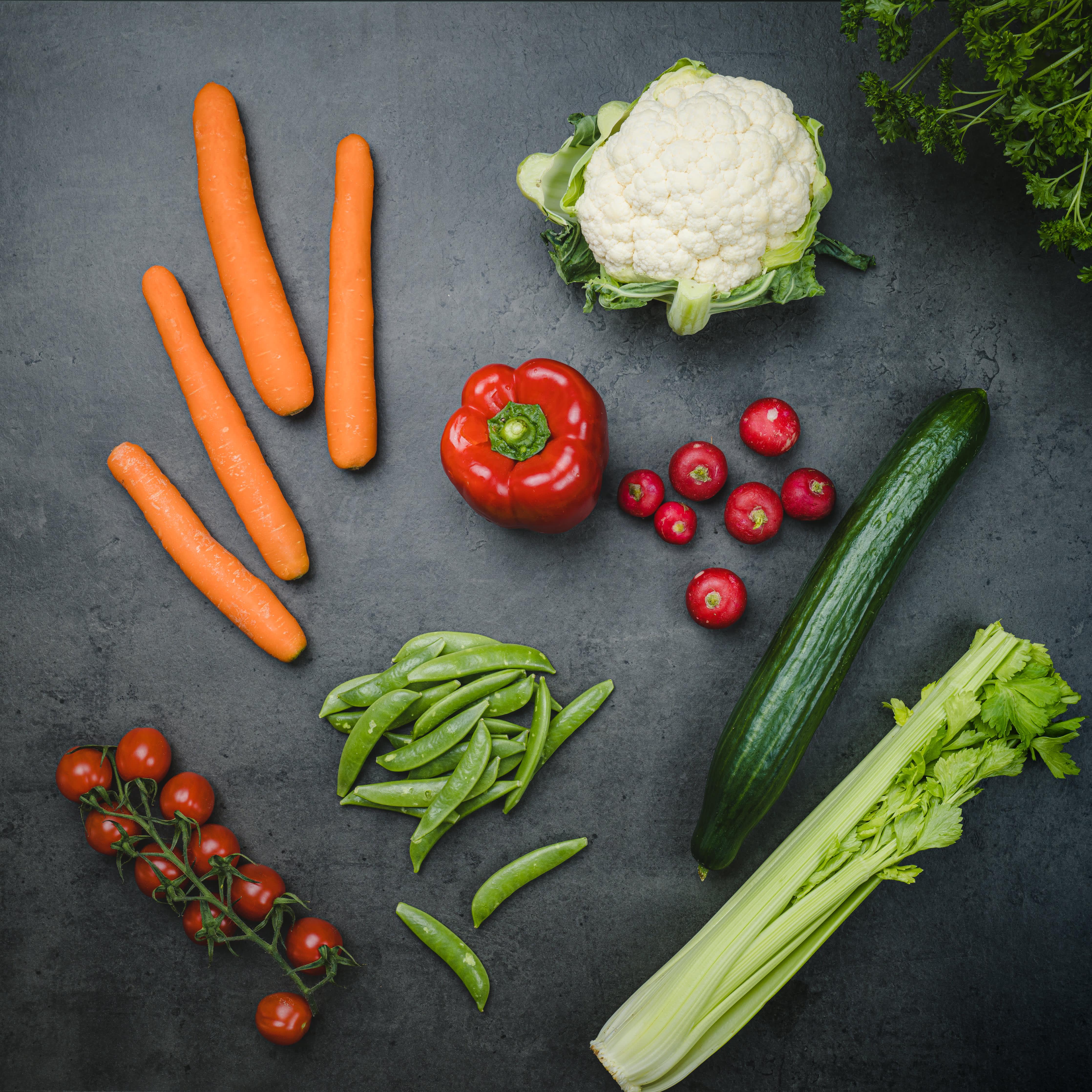 Grønnsaker egner seg godt som snacks.