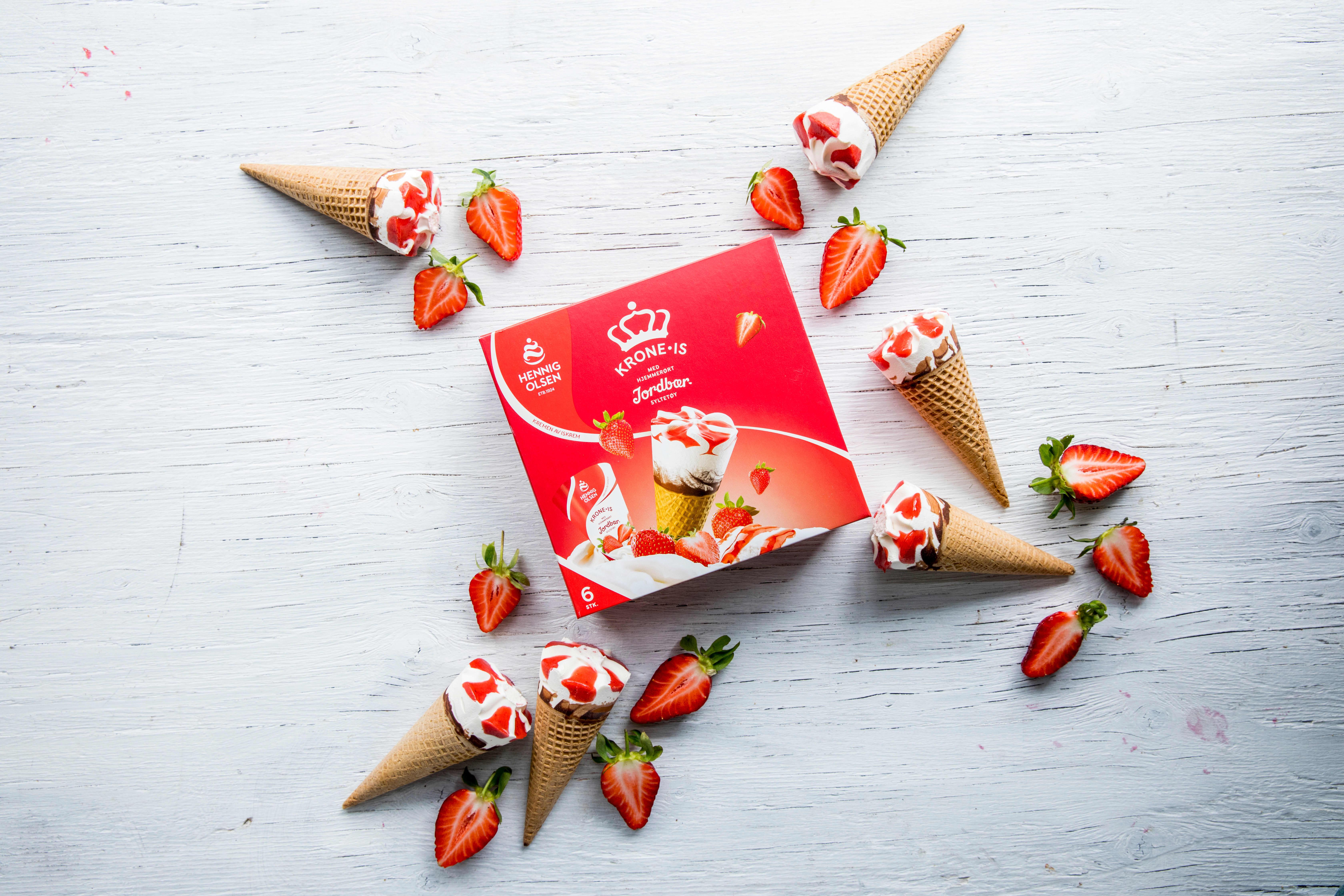 Over 8 millioner Krone-is Jordbær spises årlig.