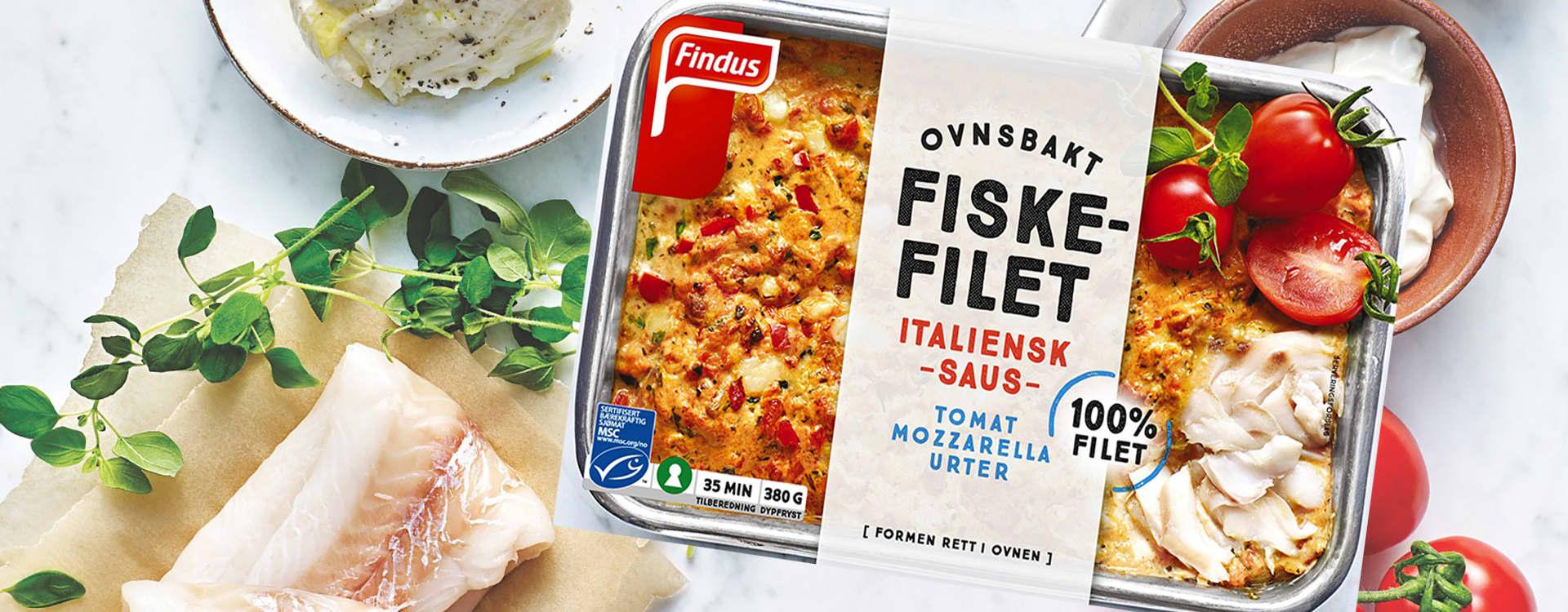 Ovnsbakt fiskefilet med italiensk saus fra Findus består av 100 prosent ren fiskefilet.