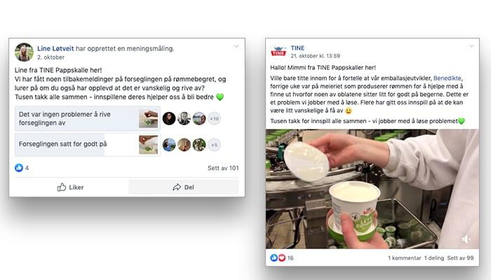 I Facebook-gruppen TINE Pappskaller kan alle gi tilbakemeldinger direkte til TINE.