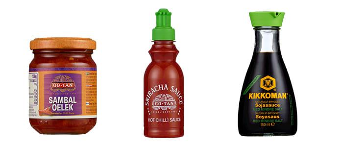 Sambal Oelek, Sriracha og soyasaus er smaker du ofte har bruk for når du lager asiatisk mat.