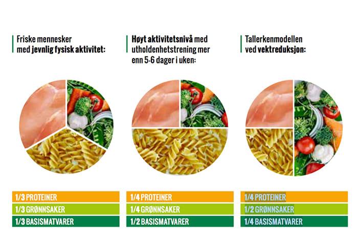 Slik ser de tre versjonene av tallerkenmodellen ut.