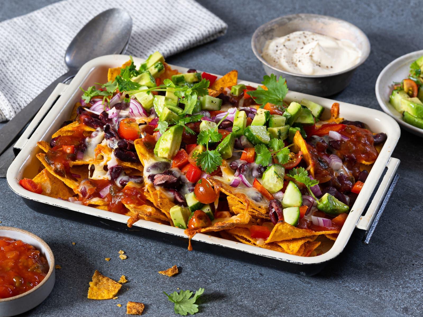 Loaded veggie nachos