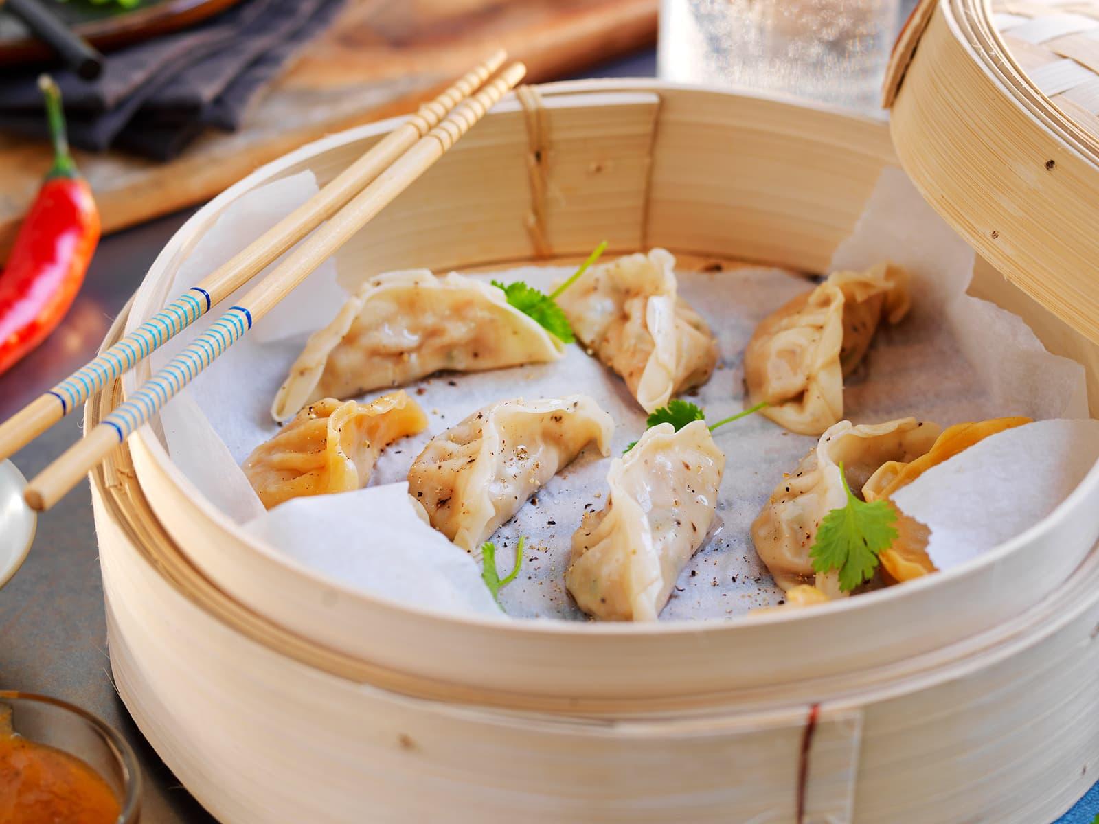 Dumplings fylt med svin
