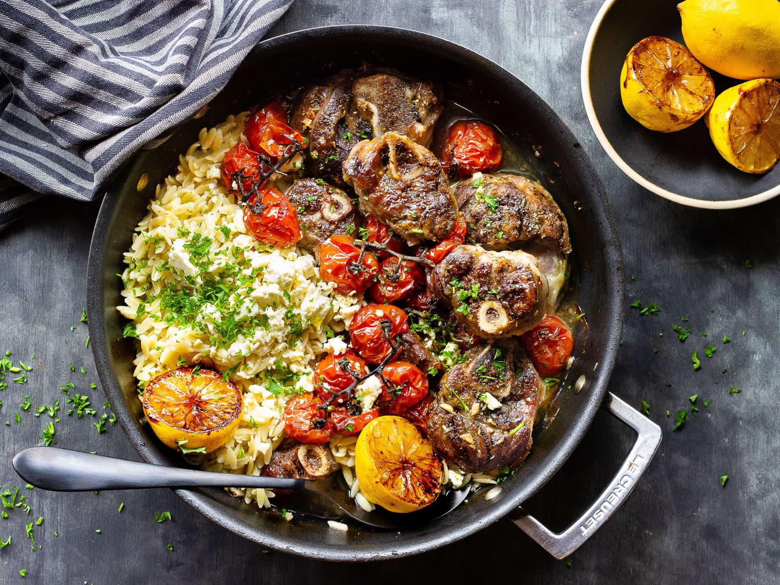 Gresk lammegryte med sitron, feta og gode tomater