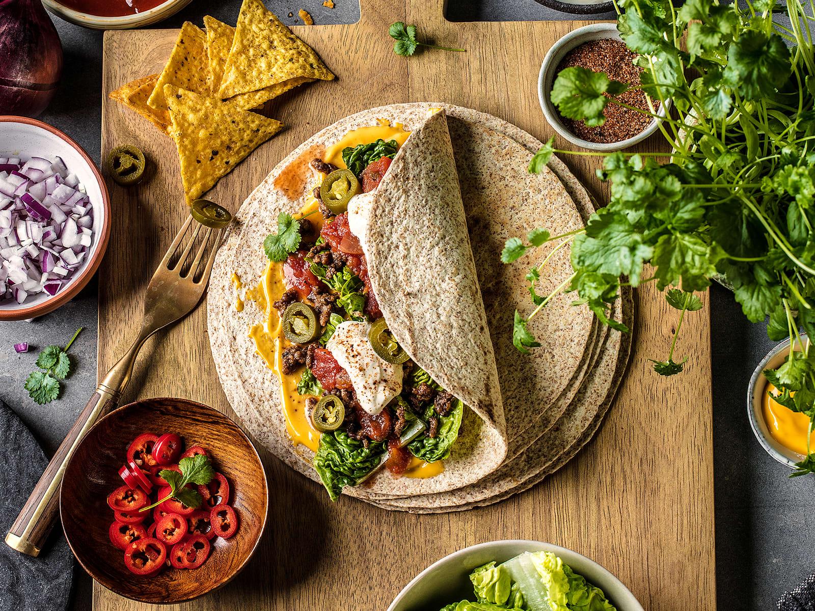 Burritos med kjøttdeig
