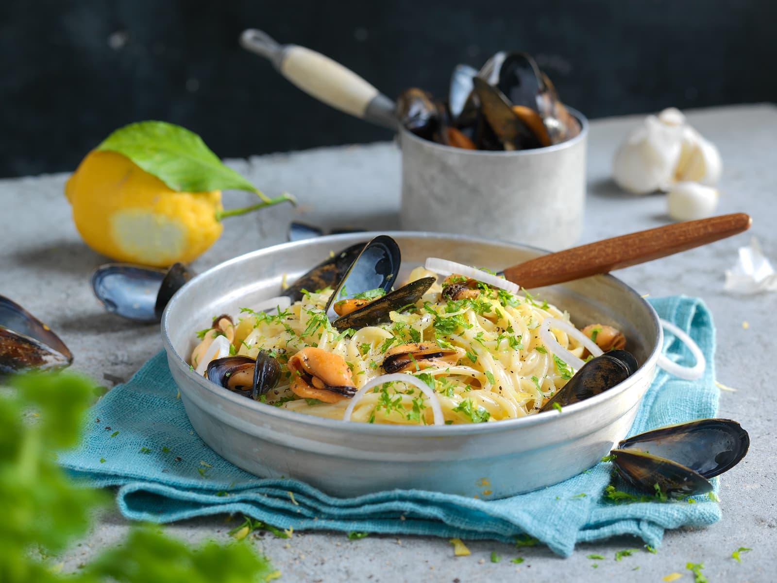 Kremet pasta med blåskjell