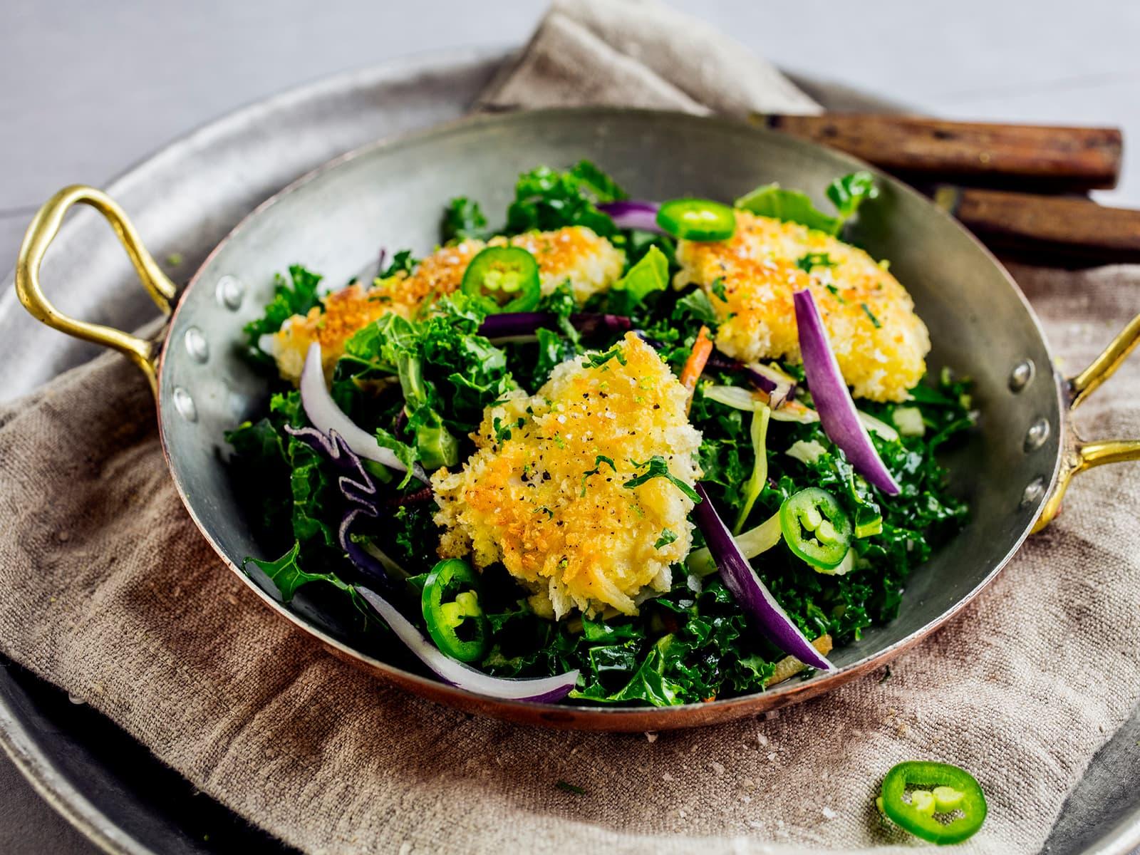 Salat med sprø torsketunger