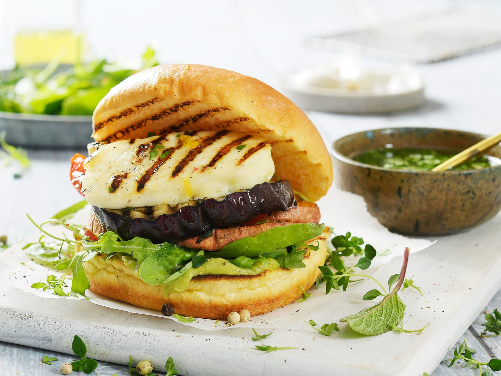 Vegetarburger med Halloumi