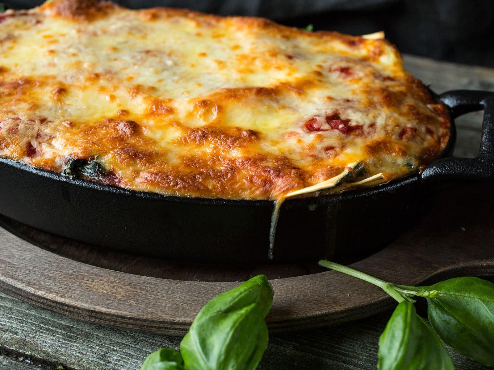 Grønnsakslasagne med paprika og spinat