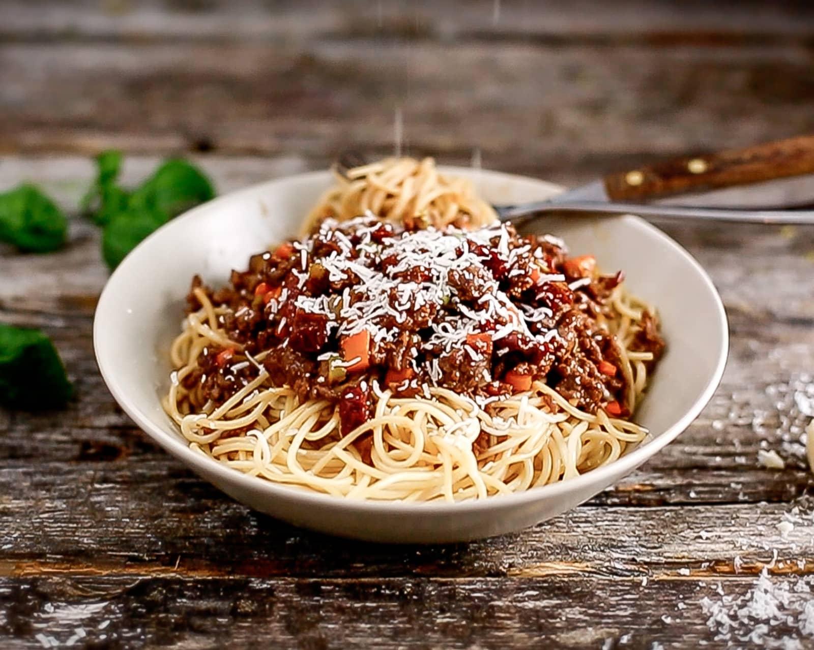Spaghetti bolognese med oksekraft og soltørket tomat