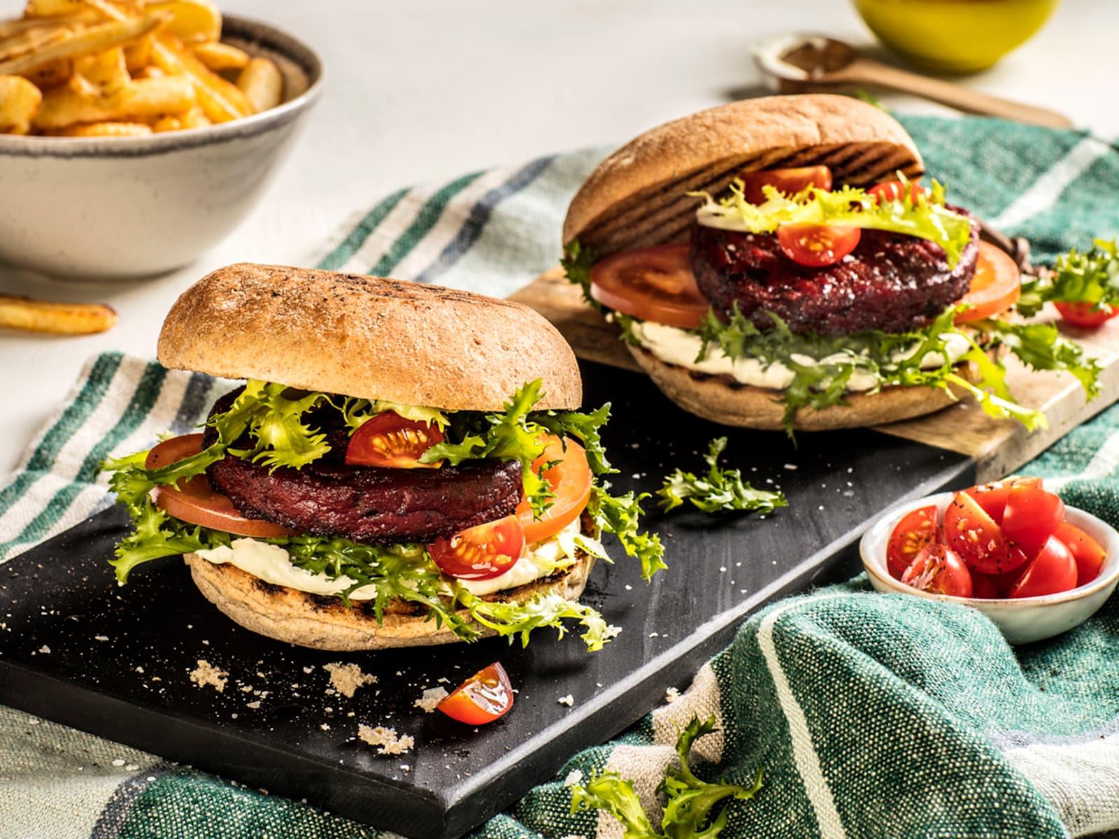 Saftig vegetarburger med aioli