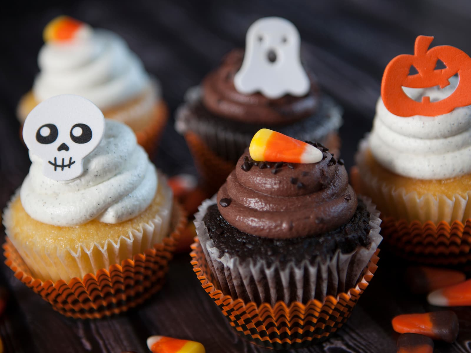 Halloween cupcakes med ostekrem