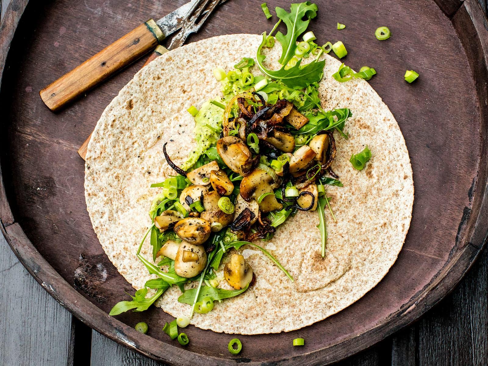 Taco med stekt sopp og løk