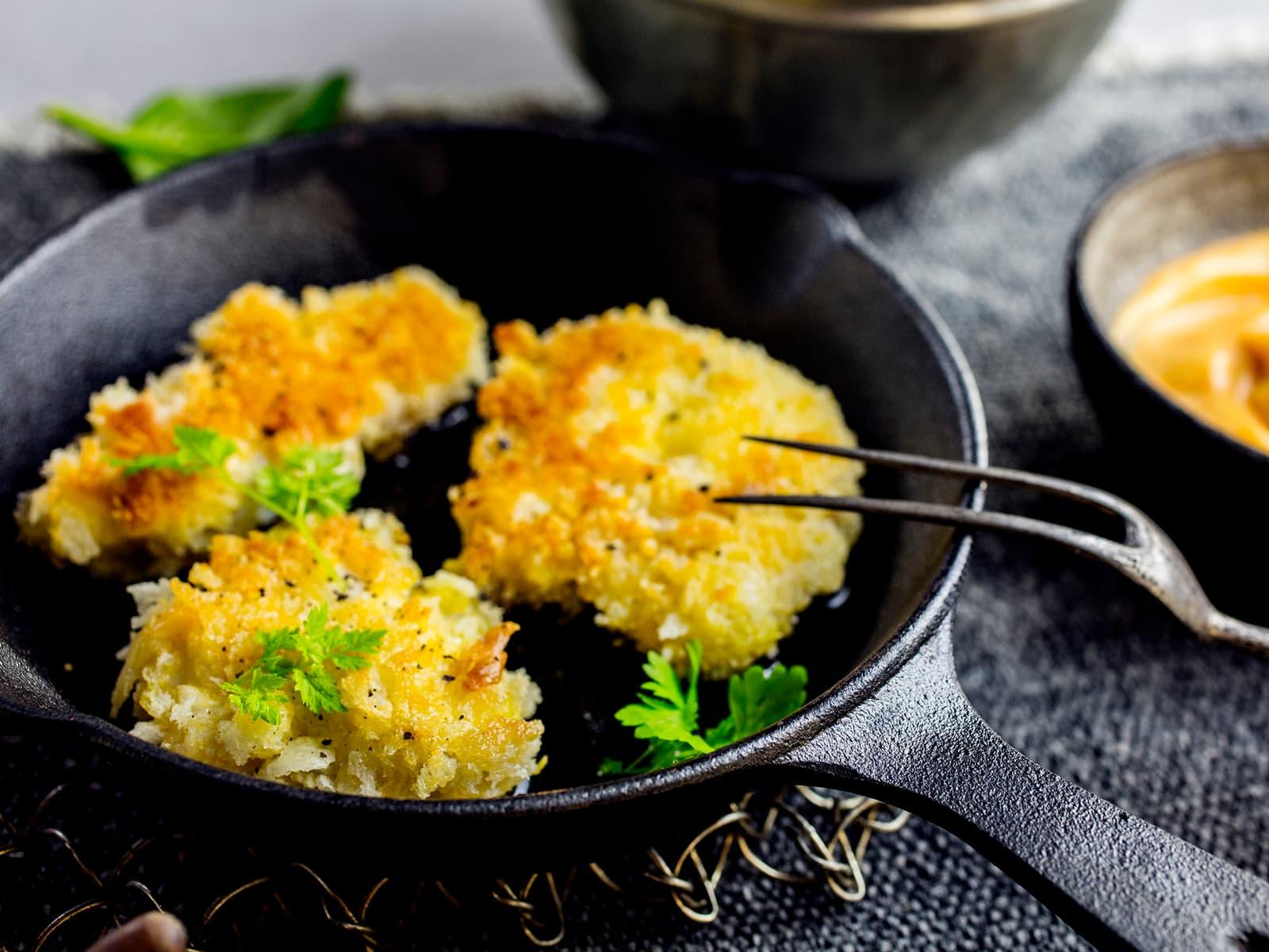 Sprøstekte torsketunger med chilimajones