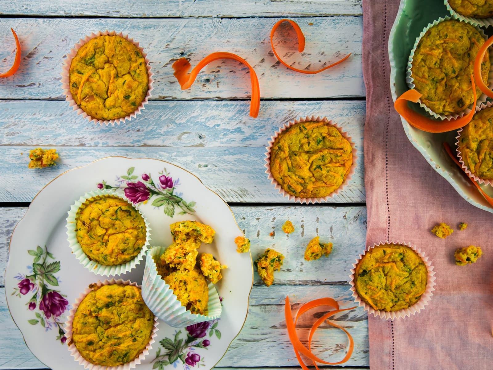 Saftige gulrotmuffins med skinke