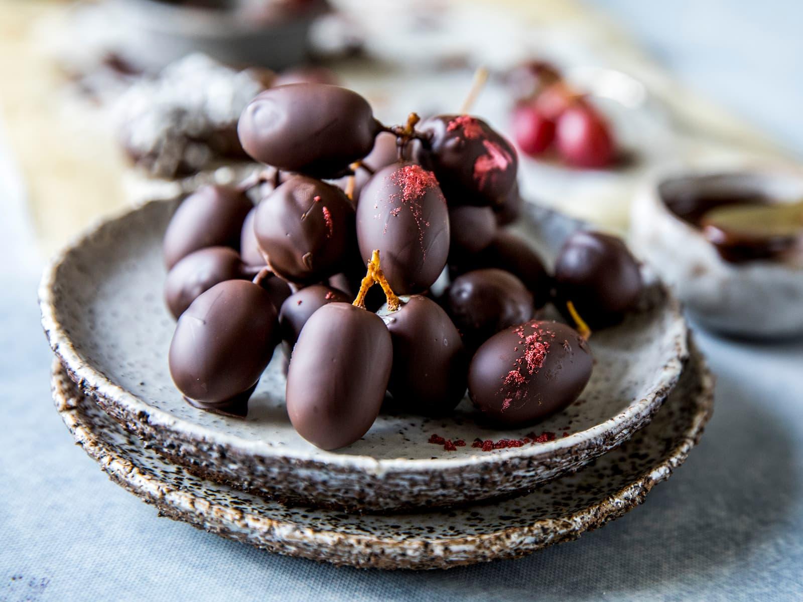 Druer med sjokoladetrekk