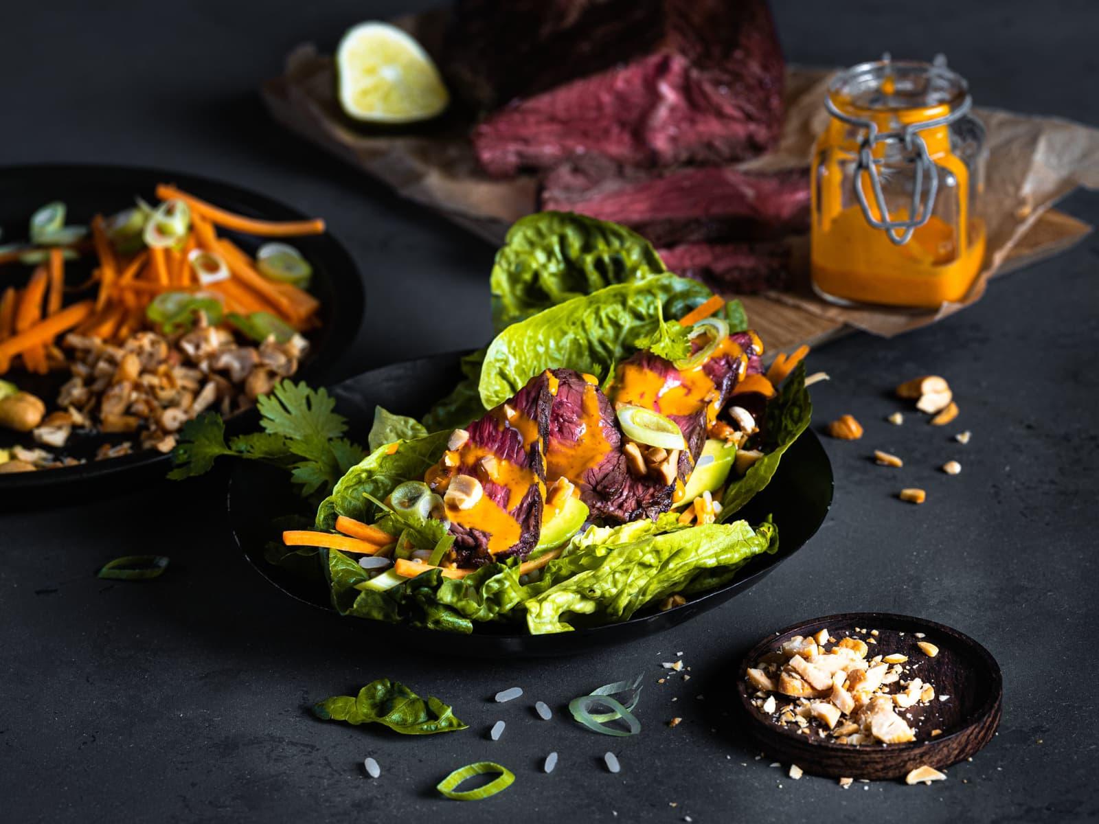 "Asiatisk ""taco"" med Hanger steak"