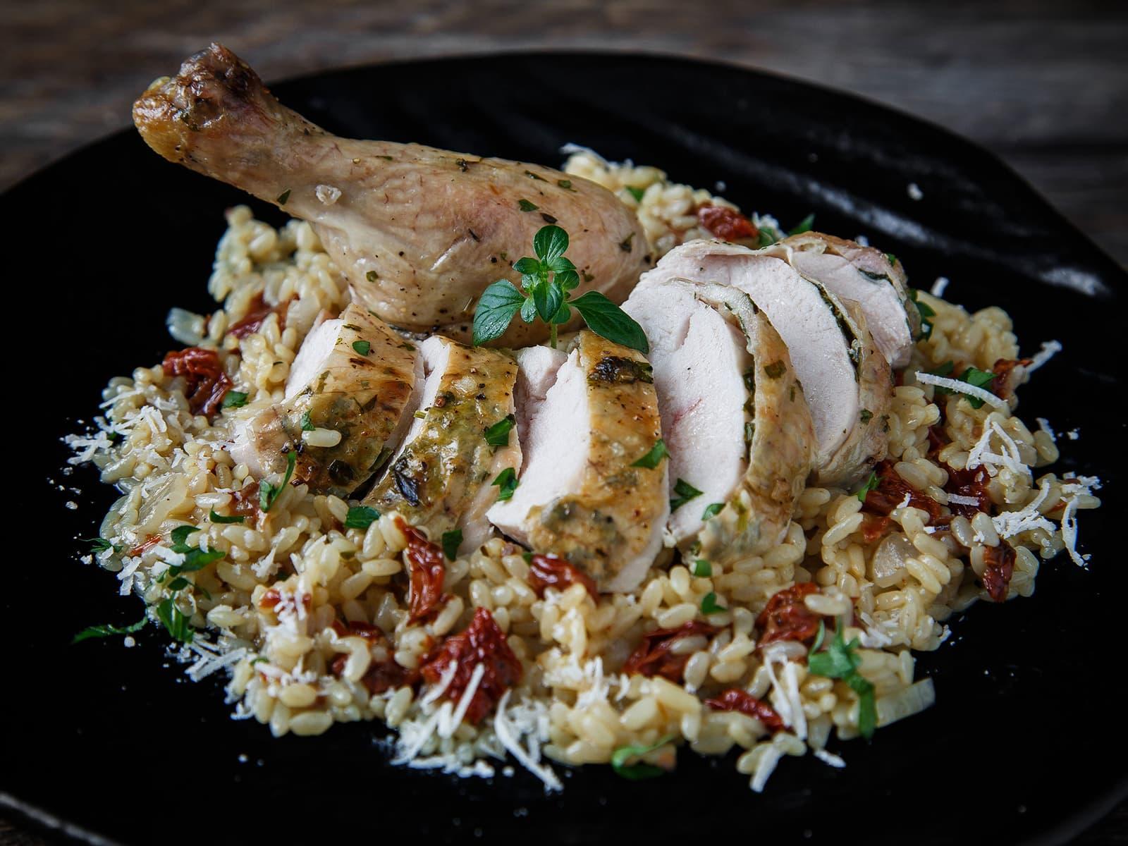 Helstekt kylling med urter og sitron