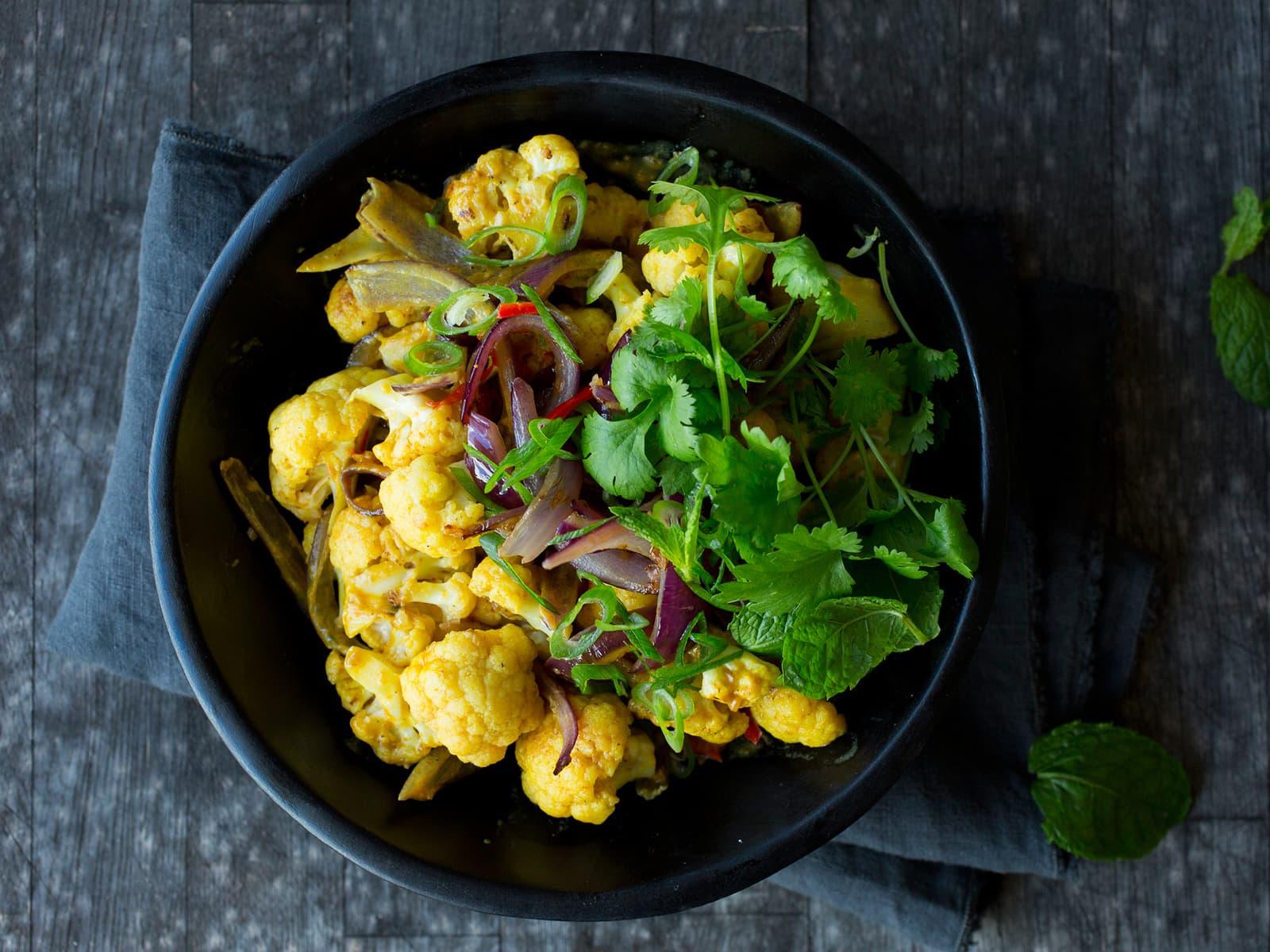 Vegetarisk red curry med blomkål