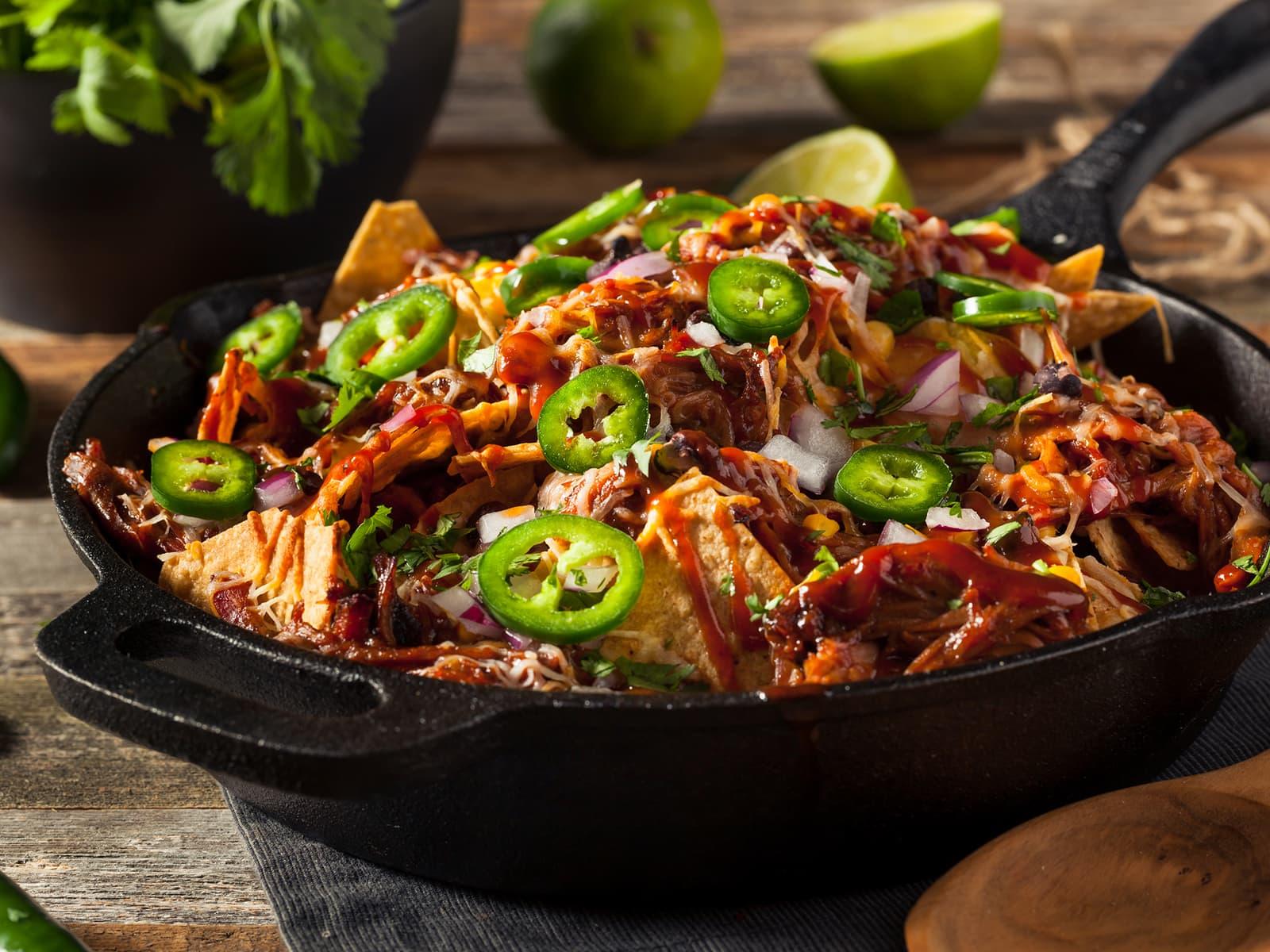 Loaded nachos med pulled pork