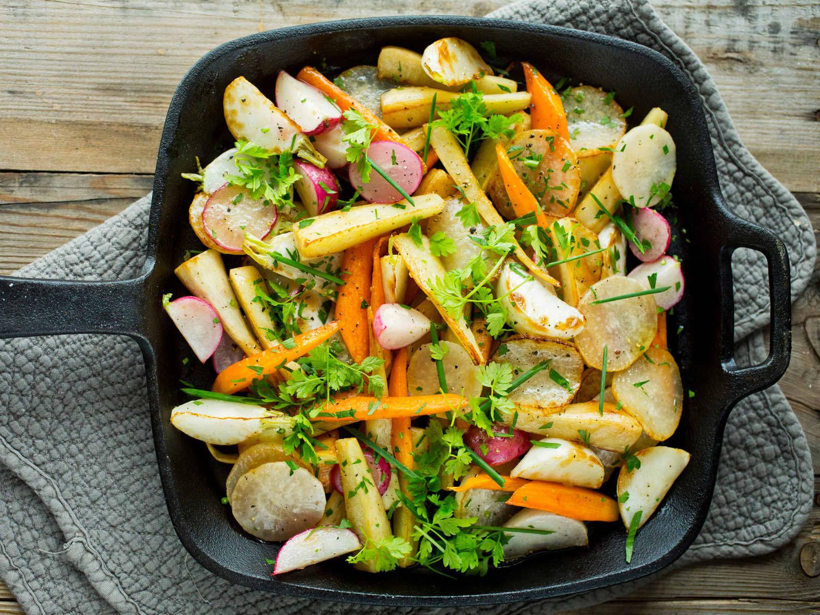 Stekte rotgrønnsaker