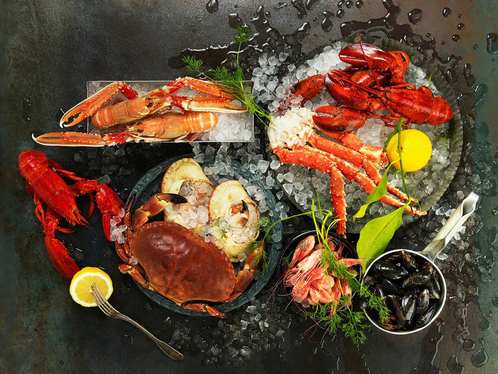 Fersk sjømat og skalldyr