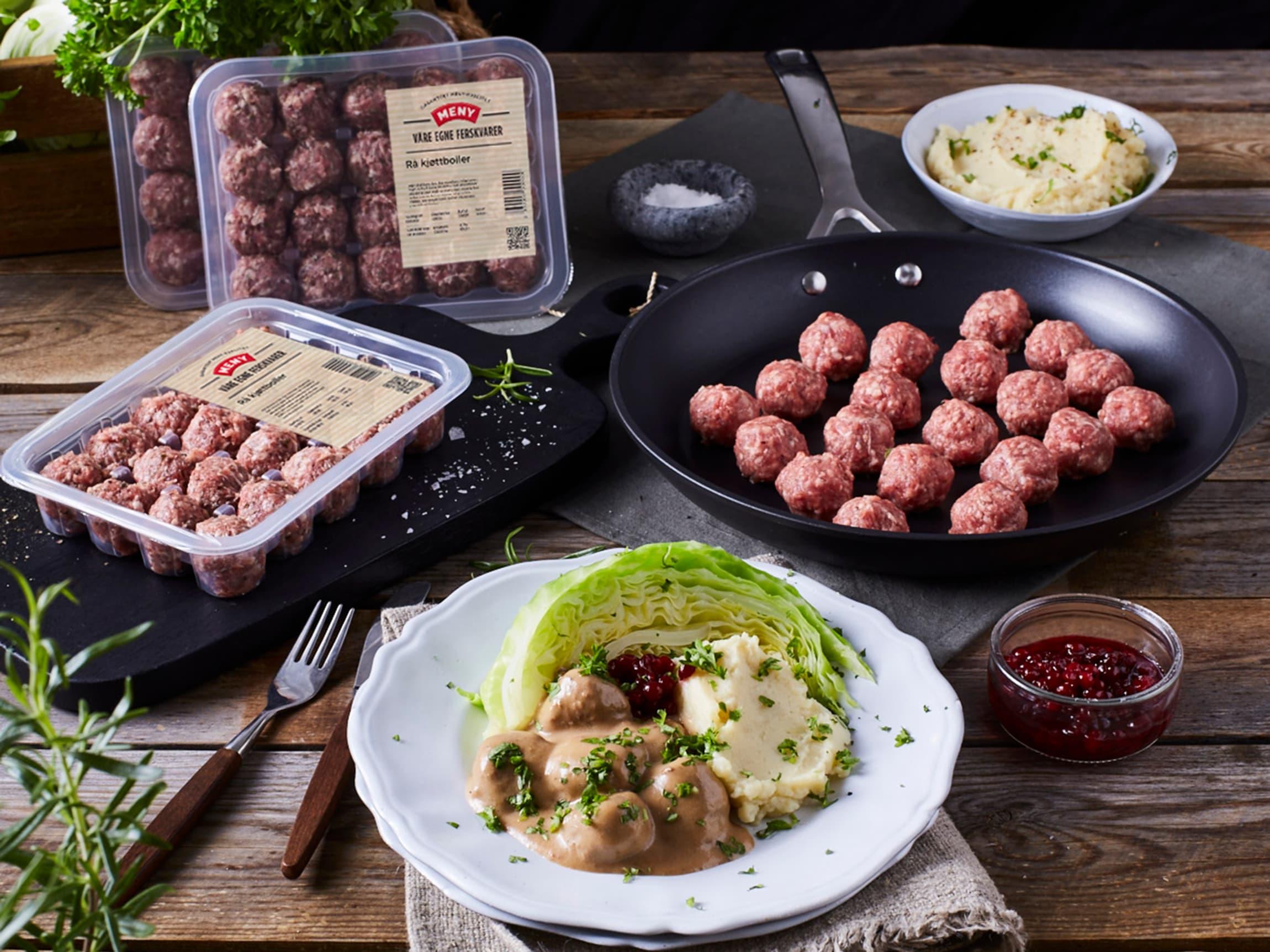 Våre egne ferdige kjøttboller kan varieres i det uendelige, fra den tradisjonelle middagen kjøttboller med fløtesaus og potetmos, til wok med kjøttboller, grønnsaker og nudler.