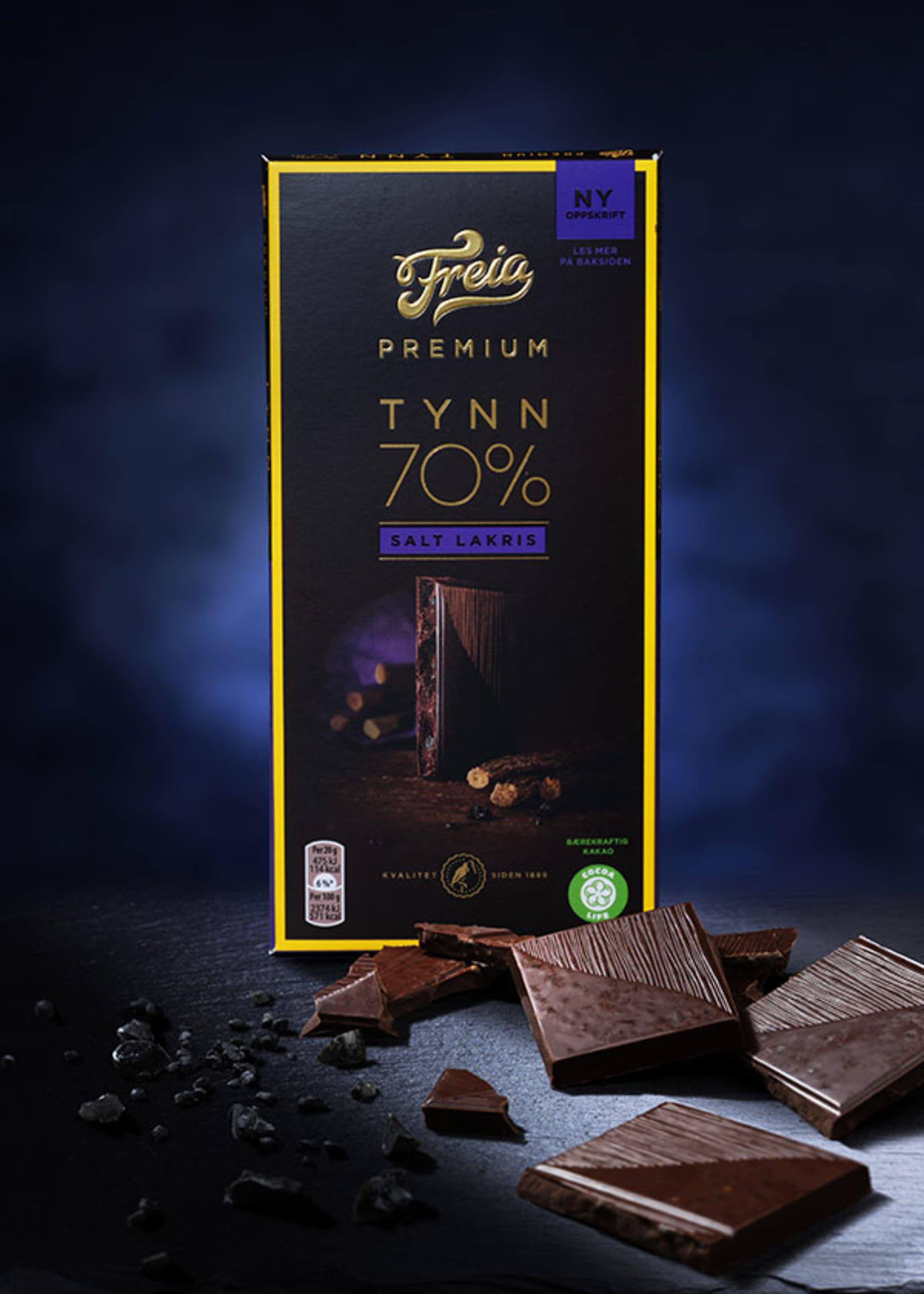 Freia Premium med mørk sjokolade og salt lakris