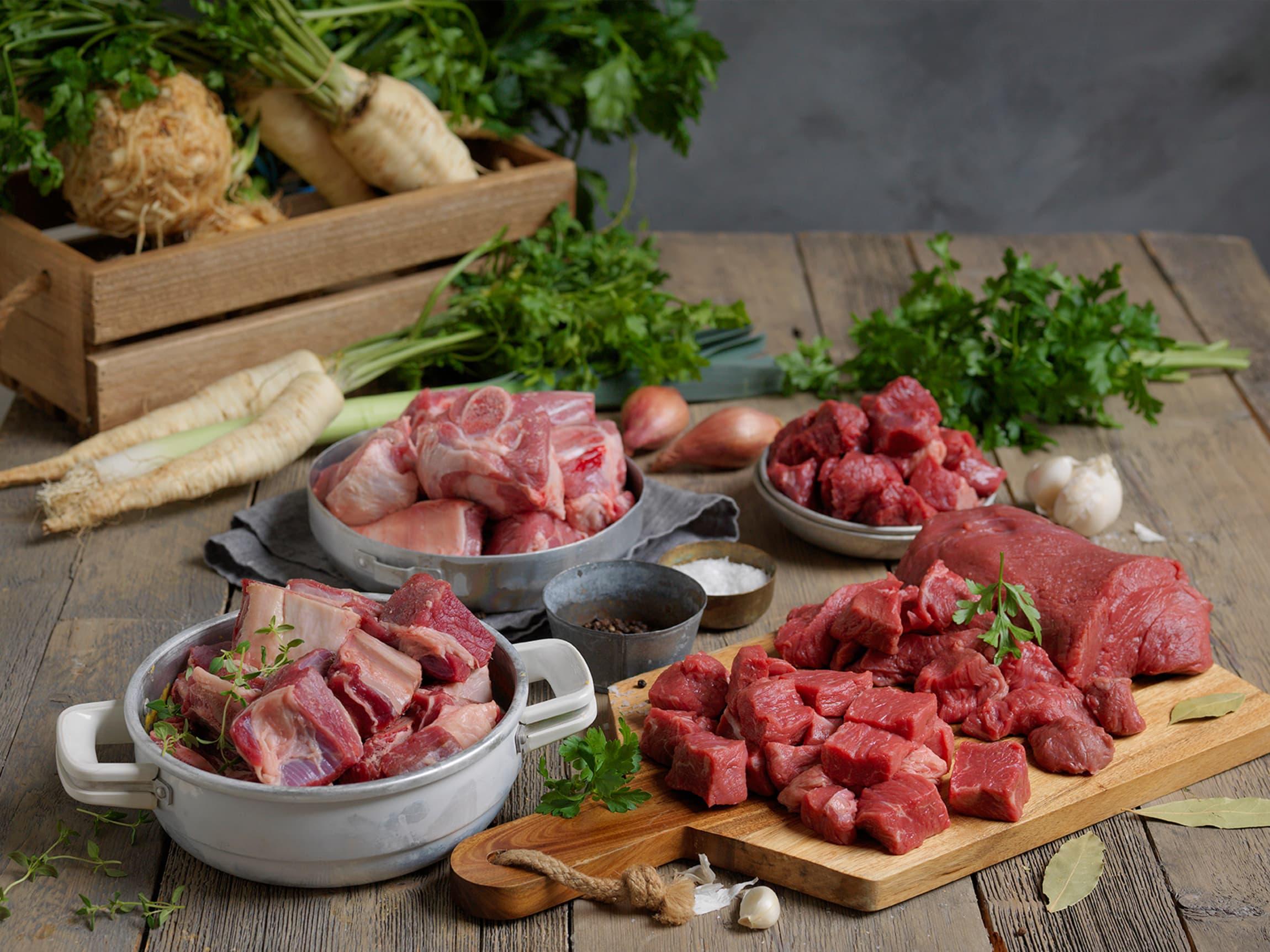 Bog, høyrygg, bankekjøtt og bibringe er typisk «supperkjøtt».