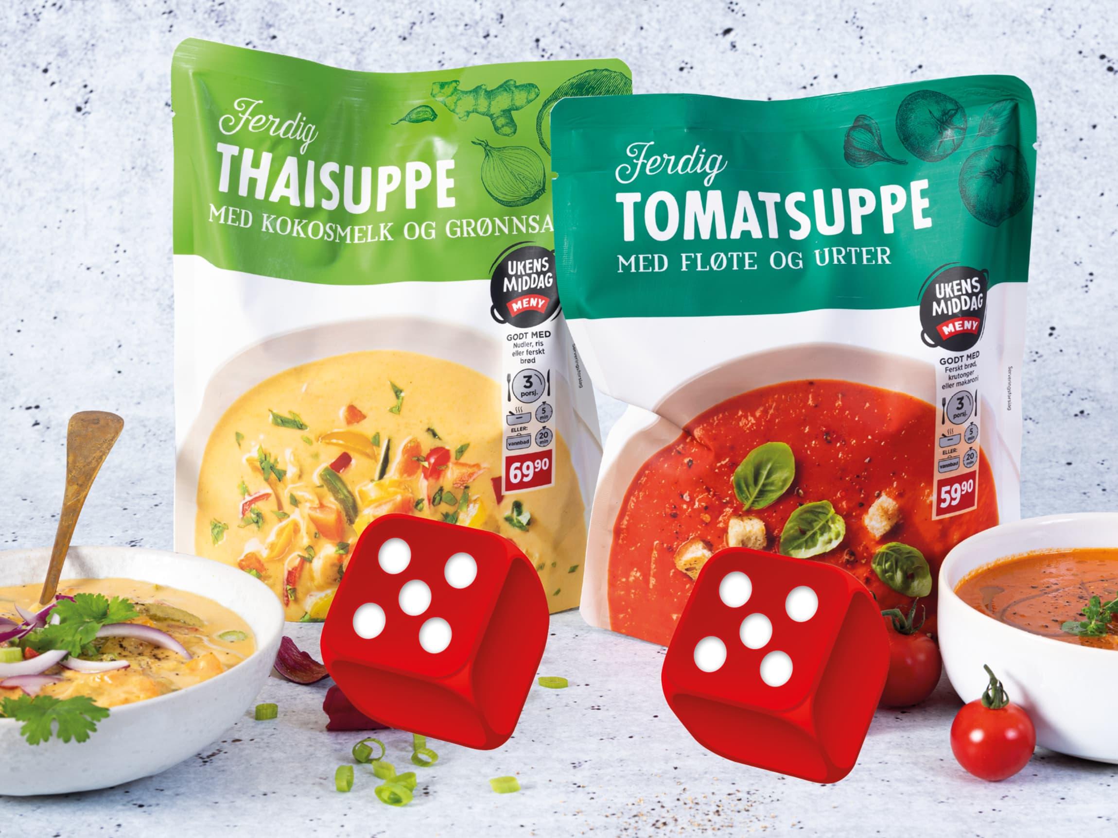 Nyhetene Ferdig Thaisuppe og Ferdig Tomatsuppe fikk begge terningkast 5 i Dabladets suppetest 2/10-2020