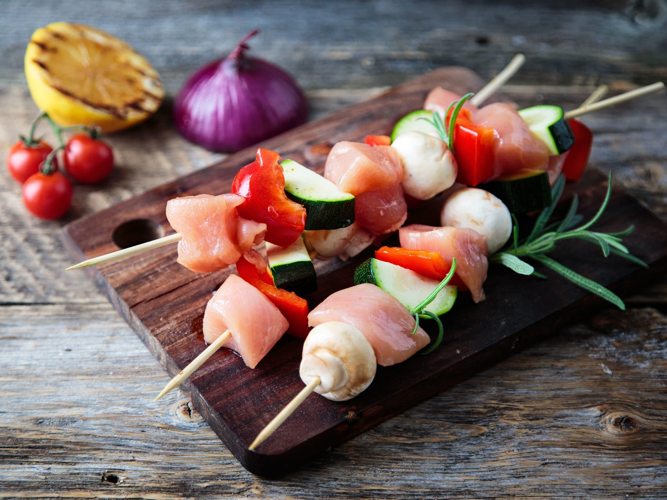 Sopp, kylling, sqaush og paprika er en smakfull kombinasjon.