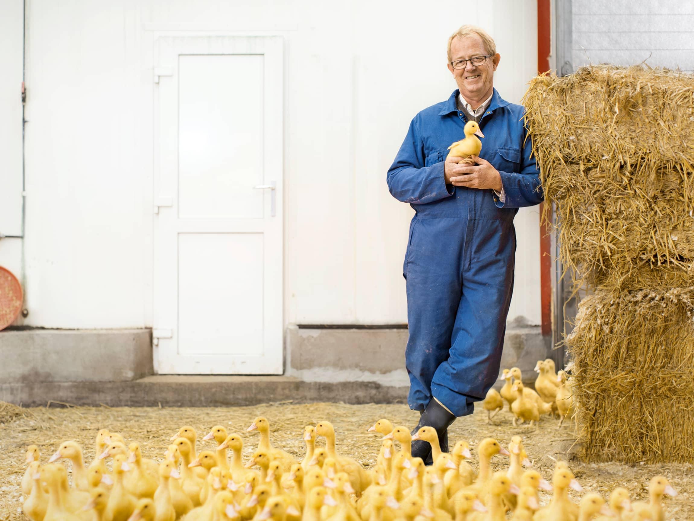 Aadne Søyland - her i andehuset på Lerstang gård, setter dyrevelferd høyt, og synes det er godt å oppleve at stadig flere folk i og utenfor landbruket har de samme verdiene.