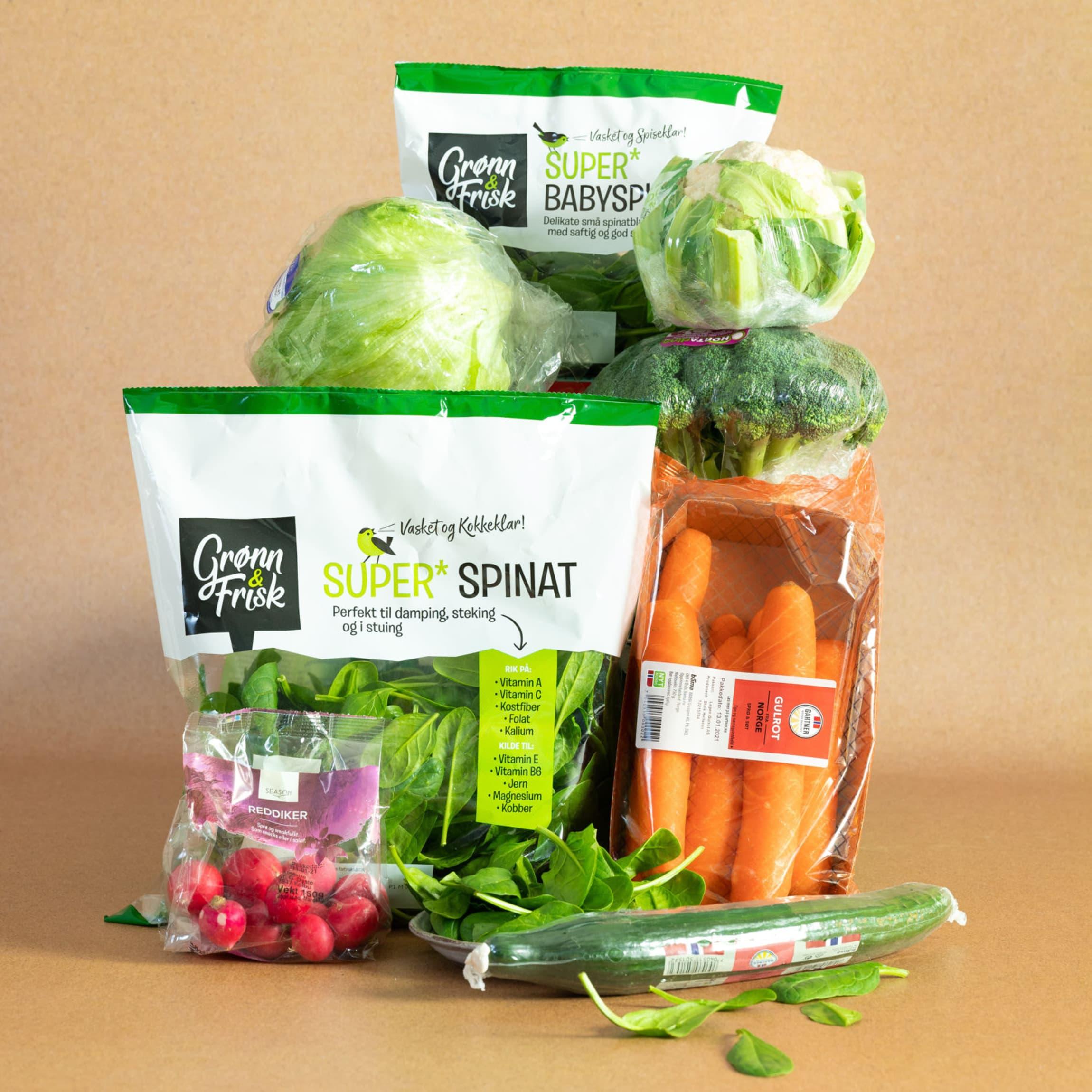 Salater, reddiker, gulrot og agurk er grønnsaker som uten plast fort vil tørke ut.