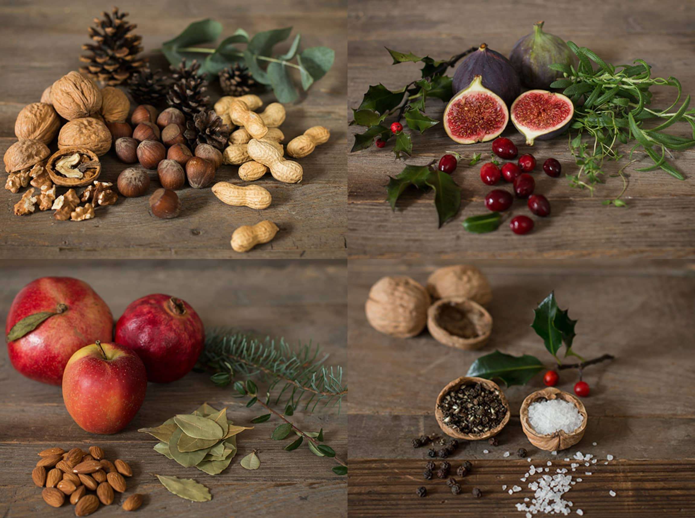 Nøtter, frukt og krydder blir flotte dekorasjoner!