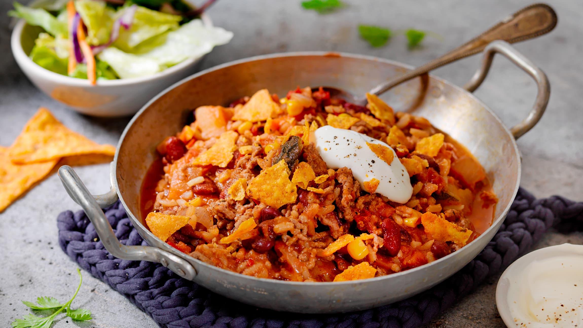 Denne chili con carnen er både kjapp å lage og veldig god!