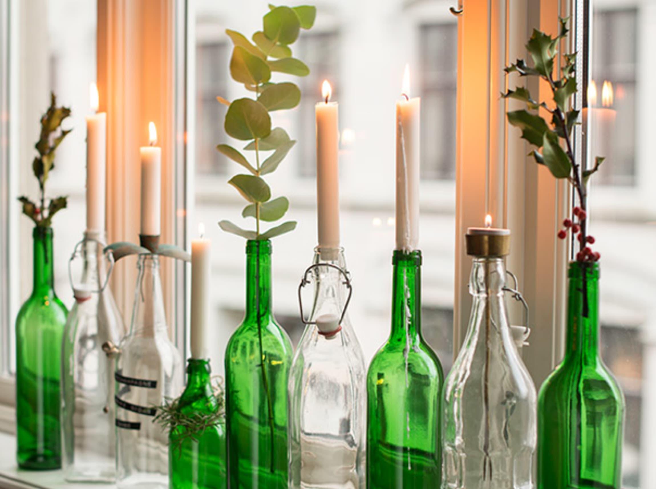Flasker kan enkelt gjenbrukes som pynt