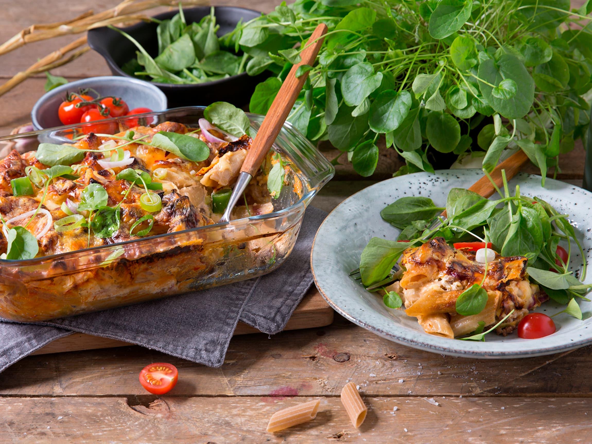 Pastagrateng passer ypperlig til hverdags når det er mange til middag.