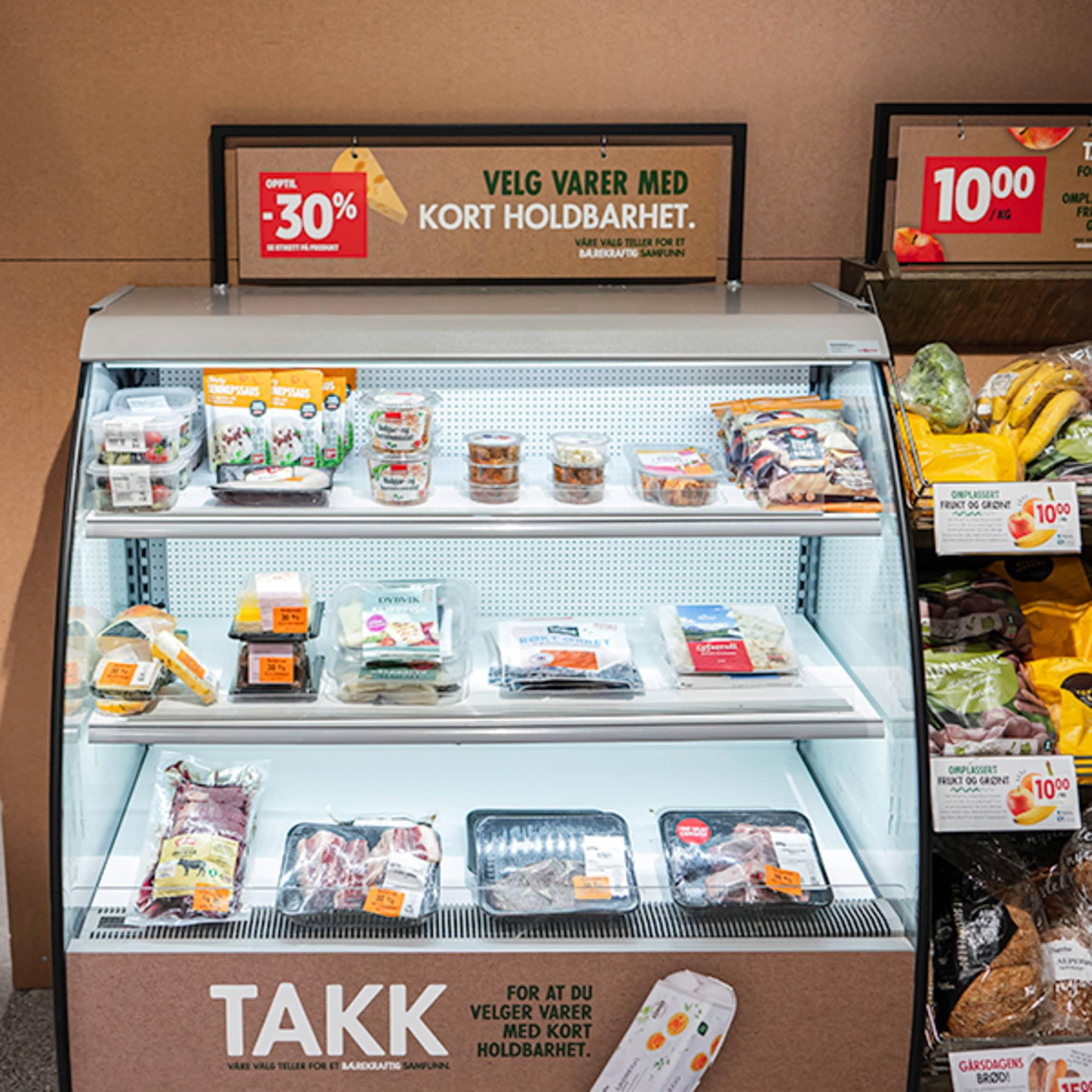 I en egen kjøledisk selger vi ut varer med kort holdbarhet til redusert pris.
