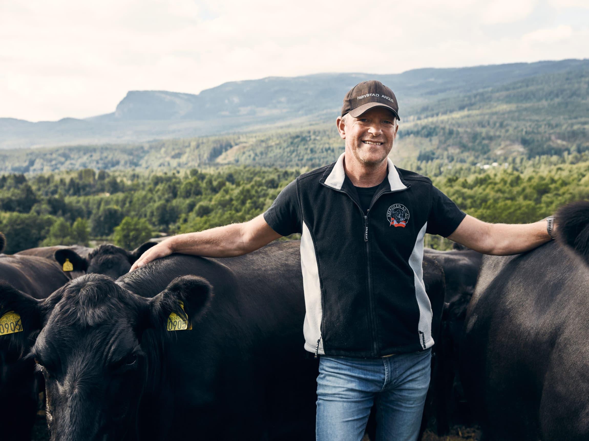 At dyrene har de godt og vite at man produserer norsk kjøtt av aller beste kvalitet på norske beiteressurser, synes Svein føles bra.