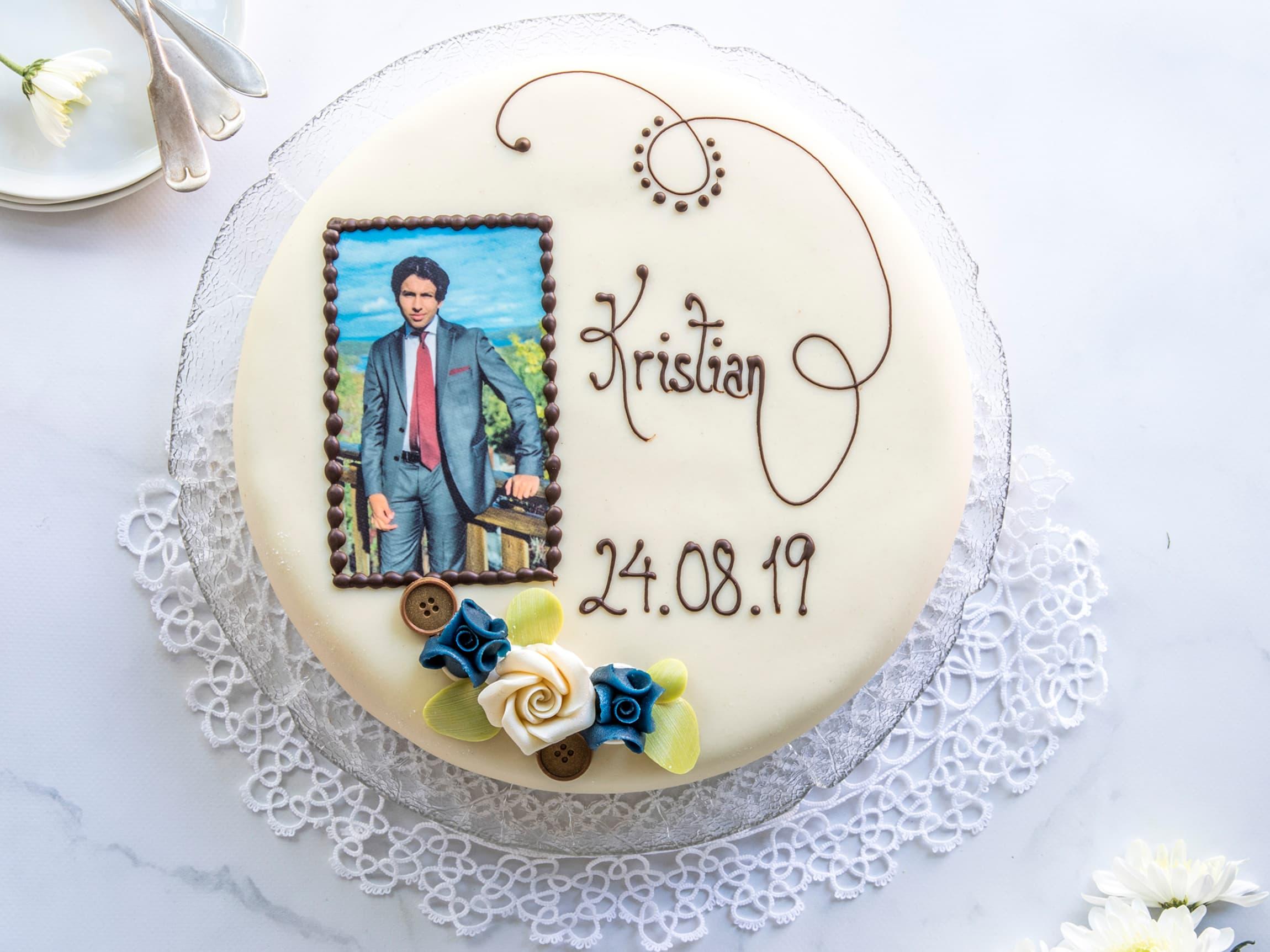 Skreddersy din kake til personlig bilde og tekst.