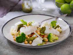 Torskefilet med pesto og bønnesalat