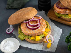 Lakseburger med mango