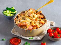 Pølsegrateng med pasta