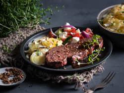 Denver steak med fløtepoteter og rødvinssaus