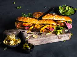 Philly cheese skirt steak sandwich