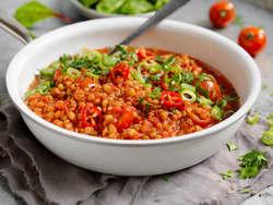 Linsegryte med chili og ingefær