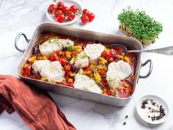 Ovnsbakt torsk med kikerter og chorizo
