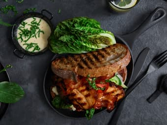 Smokey Ribs BLT sandwich