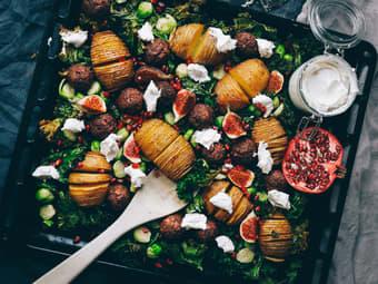 Lun vegetarsalat med hasselbackpoteter